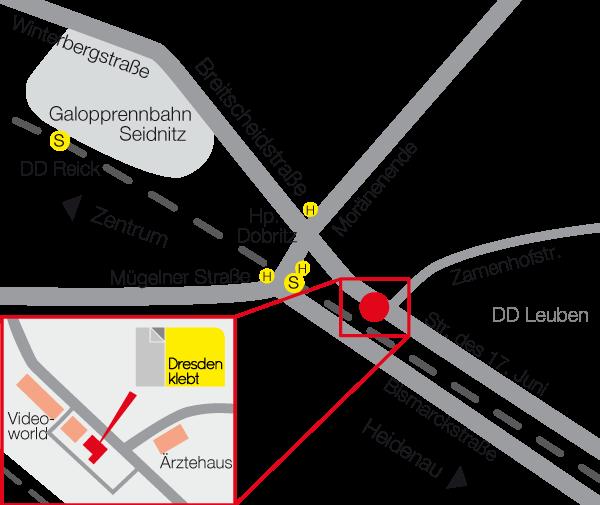 Dresden klebt - Anfahrtskizze